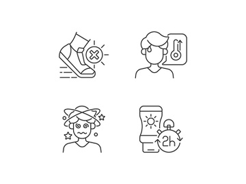 Heatstroke prevention linear icons set preview picture