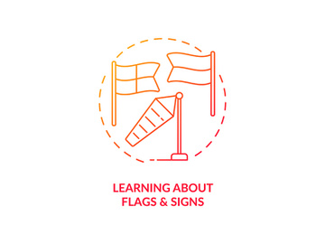 Learning about flags and signs concept icon preview picture