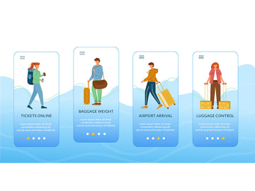 Traveling onboarding mobile app screen vector template preview picture