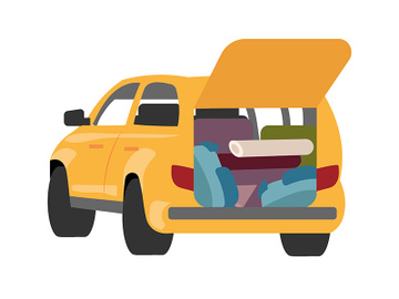 Packing car for camping semi flat color vector object preview picture