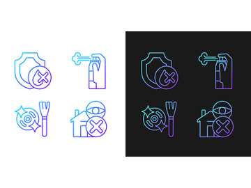 Drone guide gradient manual label icons set for dark and light mode preview picture