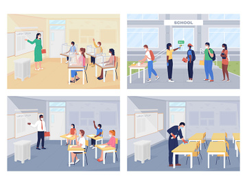 After covid pandemic rules at school flat color vector illustration set preview picture