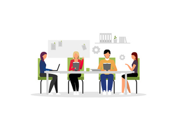 Office workers meeting flat vector illustration. preview picture