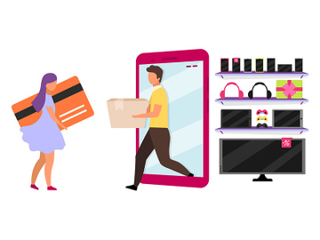 Online store delivery service flat vector illustration preview picture