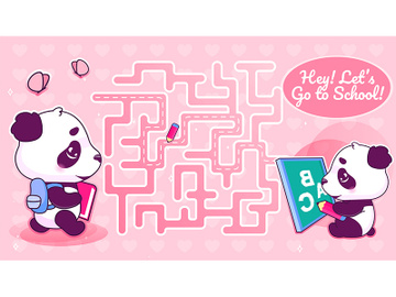 Lets go to school labyrinth with cartoon character template preview picture