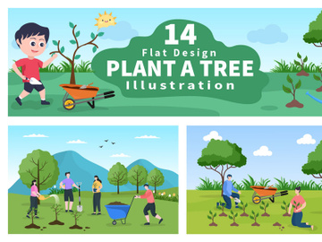 14 Planting Trees Gardening, Farming and Agriculture Illustration preview picture