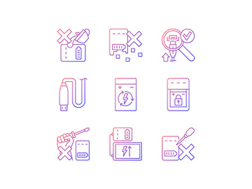 Portable charger care gradient linear vector manual label icons set preview picture
