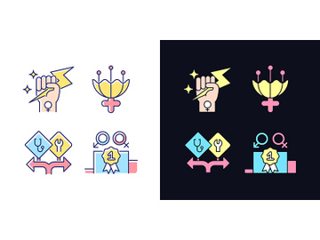Women empowerment light and dark theme RGB color icons set preview picture