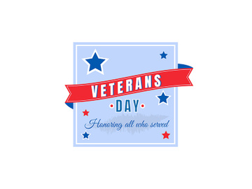 USA national Veterans Day flat color vector badge preview picture