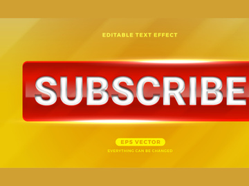 Subscribe editable text effect style vector preview picture