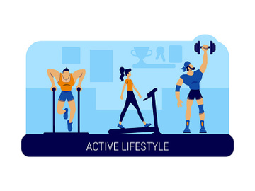 Active lifestyle banner flat vector template preview picture