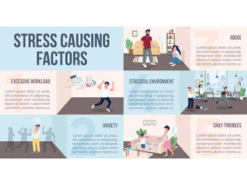 Stress causing factors flat color vector informational infographic template preview picture