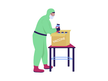 Lab assistant packing up vaccine semi flat color vector character preview picture