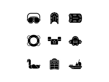 Swimming lessons black glyph icons set on white space preview picture