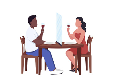Social distancing screen between couple semi flat color vector characters preview picture
