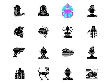 Cyberpunk black glyph icons set on white space preview picture