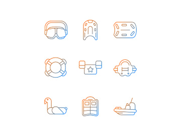 Swimming lessons gradient linear vector icons set preview picture