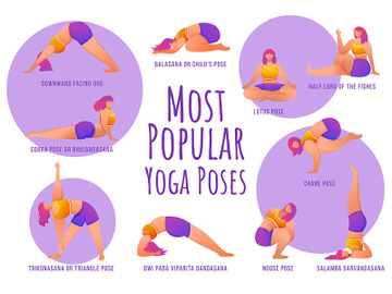 Popular yoga poses violet vector infographic template preview picture