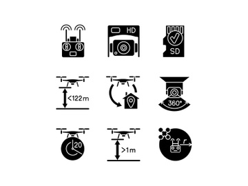 Drone care black glyph manual label icons set on white space preview picture