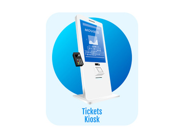 Tickets kiosk flat concept icon preview picture
