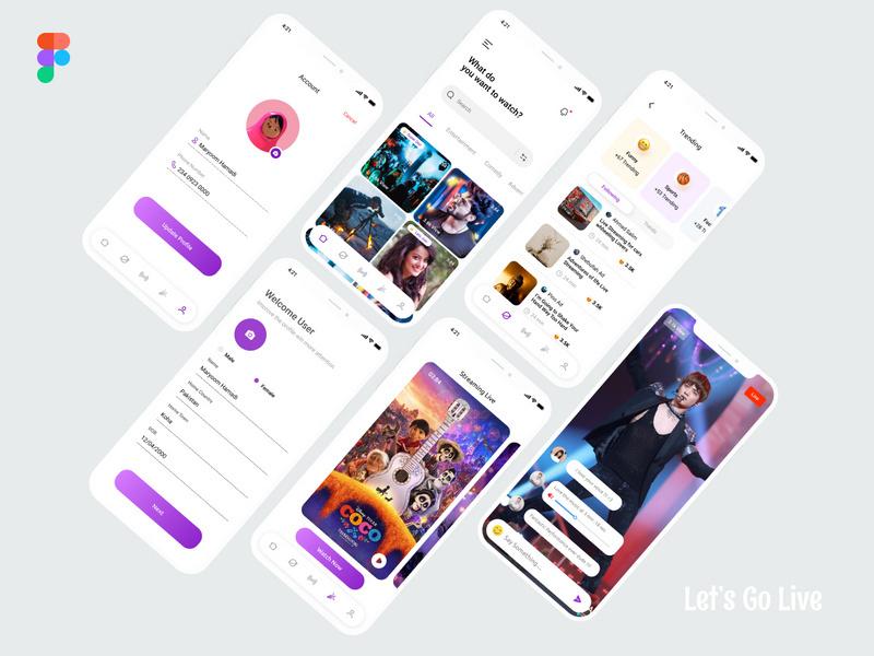 Let's Go Live App Screens Design - 2