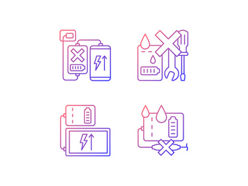Powerbank use gradient linear vector manual label icons set preview picture