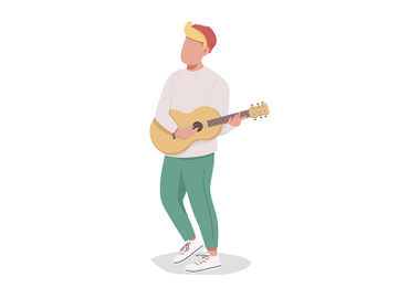 Boy playing guitar semi flat color vector character preview picture