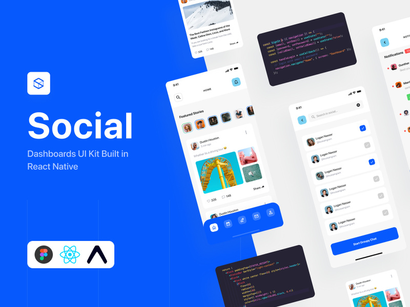 Social Dashboards - React-Native Kit preview picture