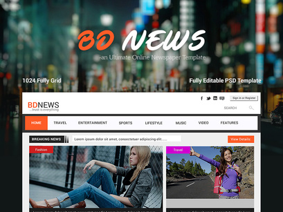 bdnews web ui ux design on newspaper template by anjan epicpxls