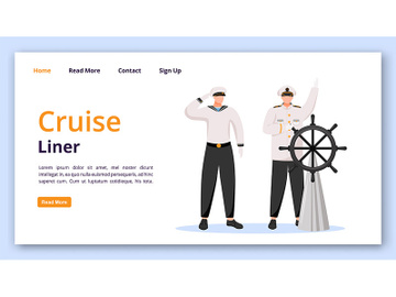 Cruise liner landing page vector template preview picture