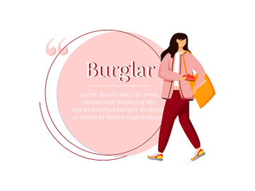 Shoplifting flat color vector character quote preview picture