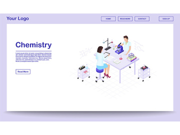 Chemistry lab staff isometric landing page template preview picture