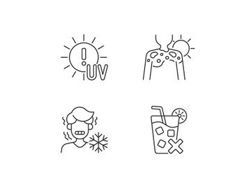 Sunburn risk linear icons set preview picture