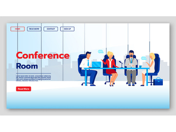 Conference room landing page vector template preview picture