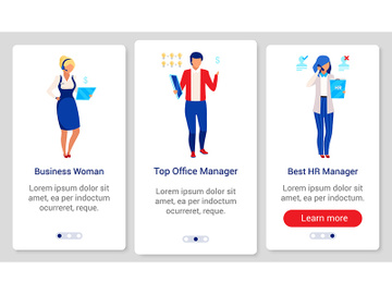 Company staff onboarding mobile app screen vector template preview picture