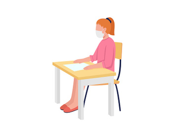 Girl in face mask at class semi flat color vector character preview picture