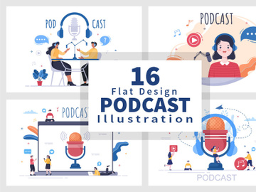16 Podcast Background Vector illustration preview picture
