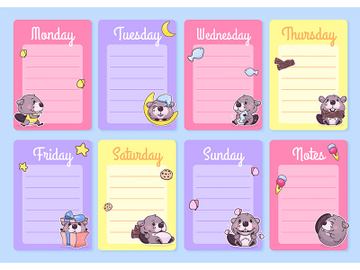 Cute baby beaver weekly planner vector template with kawaii cartoon character preview picture