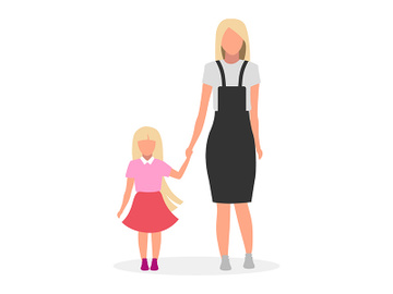 Mother with daughter flat vector illustration preview picture